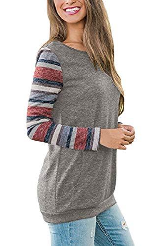 Mujeres remiendo manga de T remiendo larga camisa la de vendimia rOnrf5q