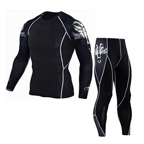 Men Sport Suit,Haoricu Clearance Man Fitness Sports Gym Pants+Shirt Running Yoga Athletic Jogger Sweatpants Tops (XL, White)