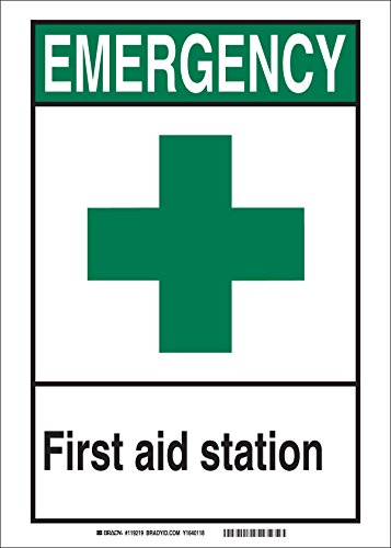 First Aid Station Sign (Brady 119227 Pressure Sensitive Vinyl EMERGENCY First Aid Station Office and Facility Sign, Black/Green/White)
