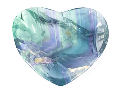 hBARSCI Elegant Purple Fluorite Heart Shaped Dish, 3.75