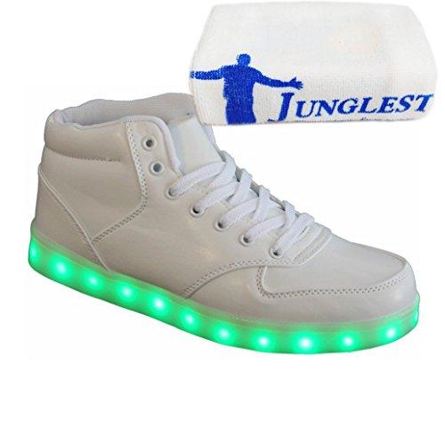 [Present:kleines Handtuch]JUNGLEST® Weiß Damen Herren LED Licht Schuhe High Top Sneaker Turnschuhe Sportschuhe Leuchtschuhe USB Auflad Weiß