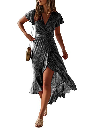 ZESICA Women's Bohemian Floral Printed Wrap V Neck Short Sleeve Split Beach Party Maxi Dress ()