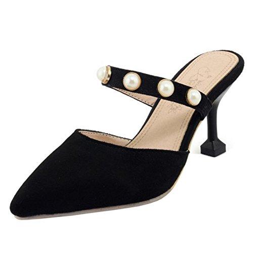 Mode Femmes Mules Black Bout RAZAMAZA Ferme 4SqOwzfz