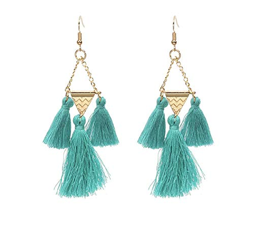 Turquoise and Gold Triangle Tassel Earrings