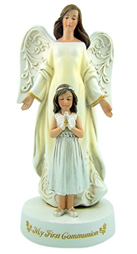 My First Communion Guardian Angel with Praying Girl Statue, 7 3/4 (First Communion Angel)