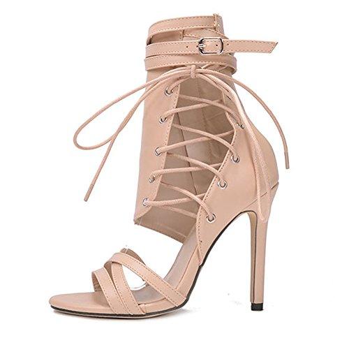 Damen Sandalen Roman Gürtelschnallen 42 NVXIE Große Coole Stiefel 35 Hochhackige Damenschuhe Sexy Träger Fashion Stiefel qEPZpw