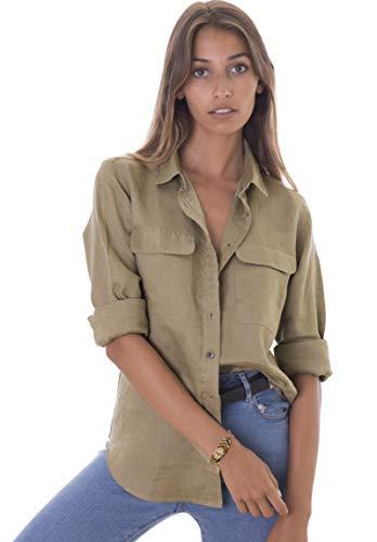 CAMIXA Womens 100% Linen Button Down Shirt Casual Basic Blouse Pockets Loose Top XL Kakhi