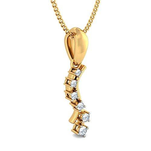14K Or jaune 0,15CT TW Round-cut-diamond (IJ | SI) Pendentif