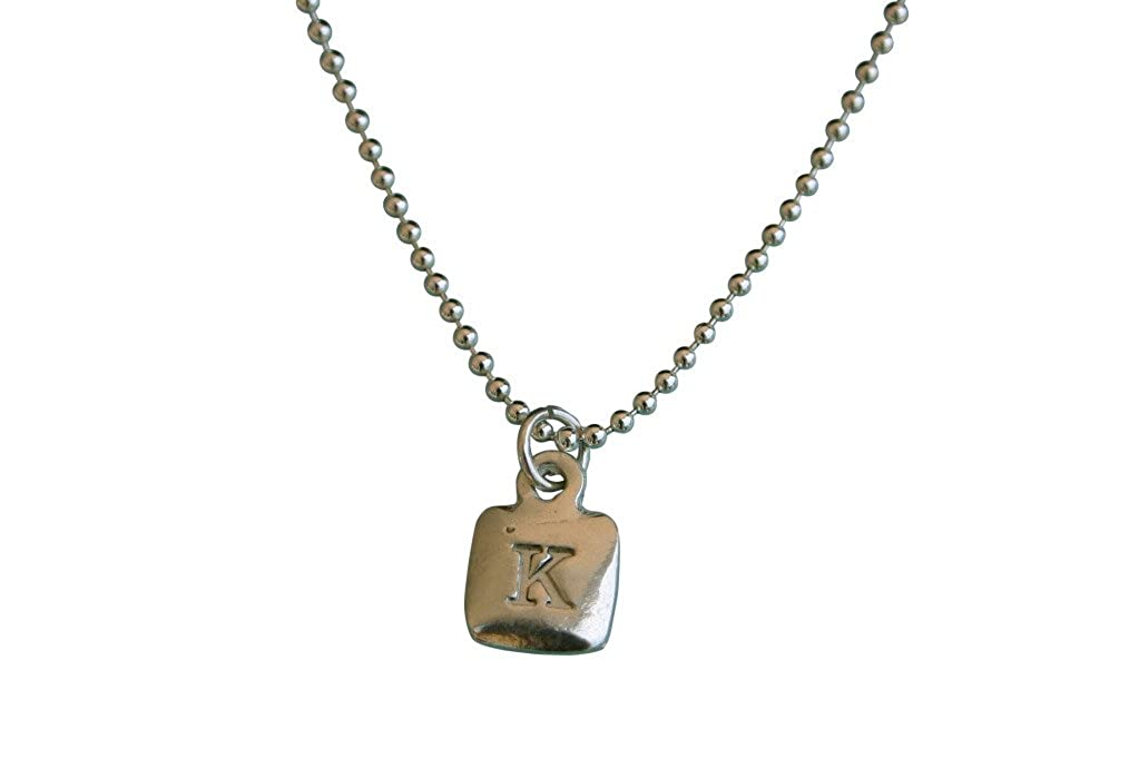 Sterling Silver Mini Square Initial Charm Letter E Hand Stamped Pendant With 20 Silver Bead Chain