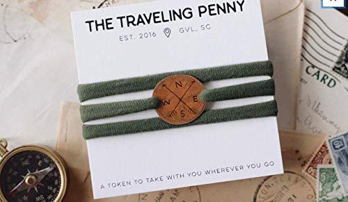 Compass Cloth Wrap Bracelet | Compass Gift | Arrow Bracelet | Nautical Compass | Hiking Bracelet | Adventure Jewelry | |