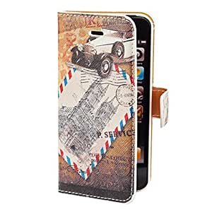 JOEVintage Post Card Pattern PU Full Body Case with Card Slot and Stand for iPhone 5/5S