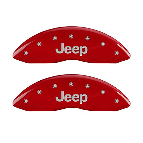 MGP Caliper Covers 42017SJEPRD Red Powder Coat Finish Front and Rear Caliper Cover, Set of 4 (JEEP Silver Characters, Engraved) by MGP Caliper Covers