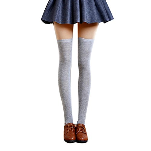 Women Long Stockings,kaifongfu Sexy Thigh High Over The Knee Socks Long Cotton Stockings (free size, Light gray) 10 Free Embroidery