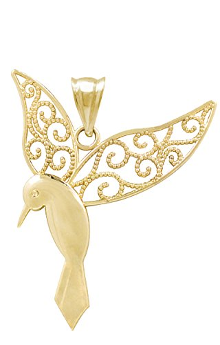 Honolulu Jewelry Company 14k Yellow Gold Humming Bird Necklace Pendant ()