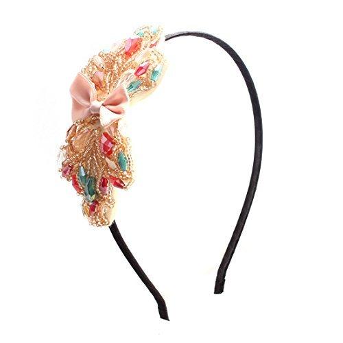 Femmes assorties Perles Couleur Bowknot Dcor Hairband cheveux Hoop Bandeau