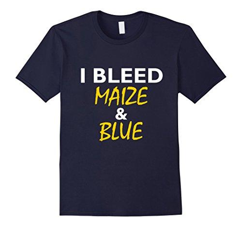 Mens I Bleed Maize & Blue T-Shirt Large Navy (Maize Color)