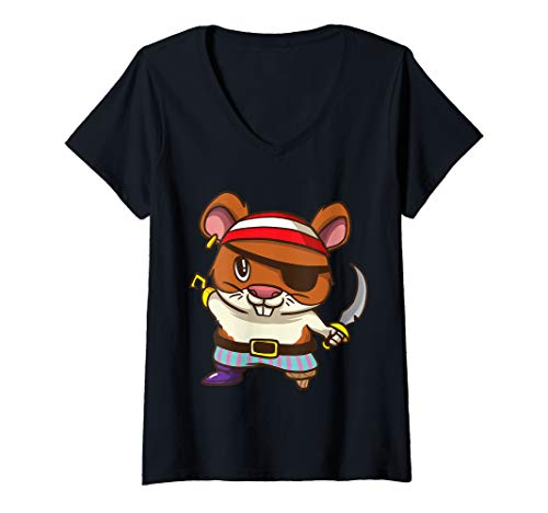 Guinea Pig Pirate Costume (Womens Pirate Hamster Halloween Party Kids Shirt Jolly Roger  V-Neck)