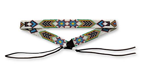 Mayan Arts Hat Band Hatband Western Cowboy Cowgirl Beaded Hat Bands Blue Leather 7/8 Inches X 21 Inches