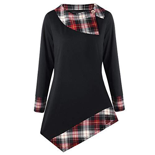 (Honhui Women's Fashion Button Dip Hem Plaid Lattice Blouse Long Sleeve T-Shirt Tunic Tops Plus Size XL-XXXXXL)