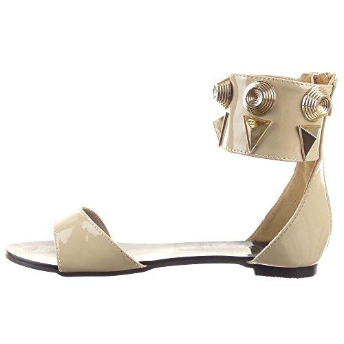 Sopily - Scarpe da Moda sandali Aperto alla caviglia donna borchiati metallico Moderno Tacco a blocco 1 CM - Beige