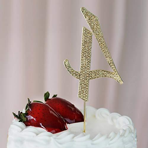 Mikash 4.5 Tall Gold Crystal Rhinestone Cake Topper Wedding Birthday Party Decorations   Model WDDNGDCRTN - 17360  