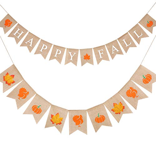 Tatuo 2 Strings Happy Fall Burlap Banner Bunting and Pumpkins Turkey Maple Leaves Garlands 19.7 Feet for Fall Birthday Fireplace Party Decor Thanksgiving Day Favor Fall Photo Prop