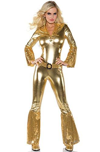 Underwraps Costumes Women's Gold Metallic Jumpsuit Costume - Disco Diva, Gold, Large