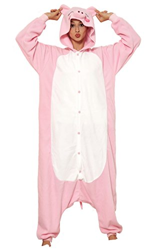 Price comparison product image KING Fun Unisex Adult Pajamas Cospaly Pink Pig Animal Costume Small A19