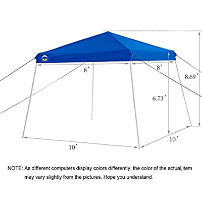 CROWN SHADES 10ft. x 10ft. Slant Leg Pop Up Instant Folding Canopy with Carry Bag, Blue : Garden & Outdoor