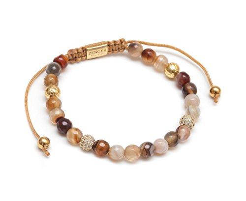 ZENGER Jewelry Emma Macrame Bracelet - 6mm Natural Mixed Bead, Adjustable ()
