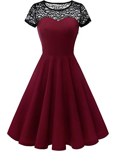 Yoyaker Women's 1950s Audrey Hepburn Rockabilly Vintage Dress Floral Lace Cocktail Swing Stretchy Dress Burgundy L from Yoyaker