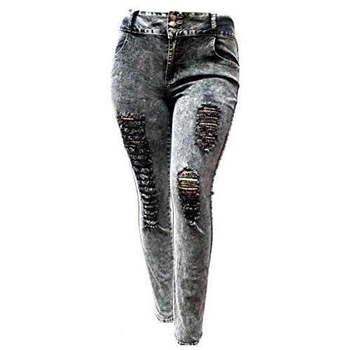 5034afbd5ed 85%OFF J K89 WOMENS PLUS SIZE BLACK Denim JEANS Stretch Skinny Ripped  Distressed Pants