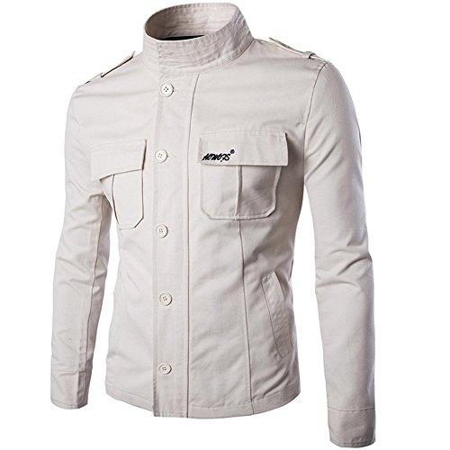 casual ajustado larga con Chaqueta de y manga hombre entallado cuello estilo con botones Beige para cremallera ligera algodón Iwqqz0