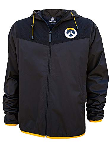 JINX Overwatch Logo Zip-Up Windbreaker Jacket, Black, Medium