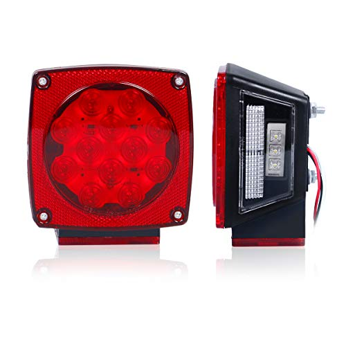 12V Led Submersible Trailer Light Stop Back up Brake Turn Signal Lights for Under 80 inches Boat, Truck, RV, Boat, Trailer and Towing Vehicle, DOT Complied Tail Lamp Assembly ()