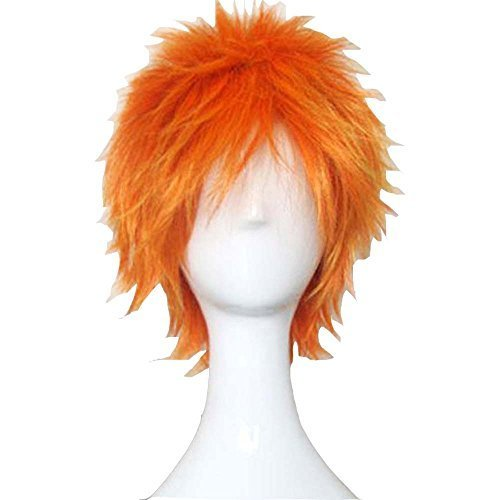 Wigle 12 Inches 30cm High Quality Bleach Kurosaki Ichigo Bottom Curly Short Layered Cosplay Costume Party Wigs with Free Wig Cap (Orange)