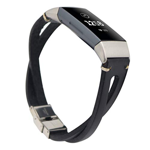 Price comparison product image certainPL Compatible Fitbit Charge 3 Band,  Genuine Leather Bracelet Replacement Band for Fitbit Charge 3 (Black)