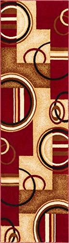 - Well Woven Deco Rings Red Geometric Modern Casual Rug 2x7 (2'3