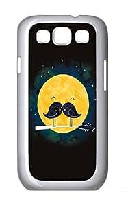 Samsung S3 Case Mustache Bird Moon PC Custom Samsung S3 Case Cover White