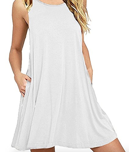 Milan Style Women's Summer Sleeveless Casual Swing T-Shirt Dresses with Pockets (M, White) -