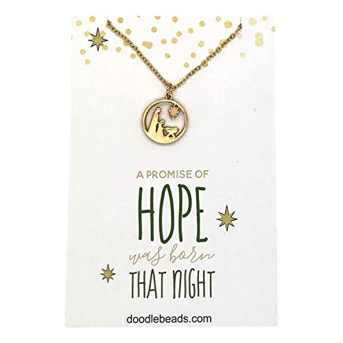 Doodle Beads Nativity Charm Necklace Gold, Manger Scene, Baby Jesus, Nativity Pendant with Spiritual Message Card Quote, Religious Christmas Jewelry Gift