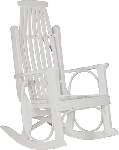 LuxCraft Poly Grandpa's Hickory Rocker, White Country White Adult Rocking Chair