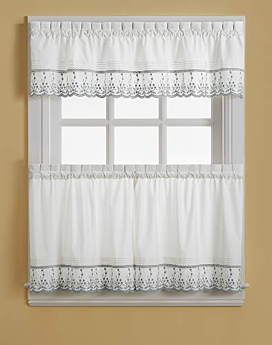 CHF Abby Solid White Embroidered Window Kitchen Curtain Tier Pair, Rod Pocket, 30W x 36L inch, Grey