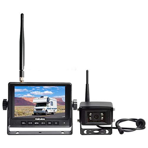 Haloview MC5101 Digital Wireless Backup Camera System Kit 5 LCD Reversing Monitor and IP69K Waterproof Rear View Camera for Truck/Trailer/Bus/RV/Pickups/Camper/Van/Farm Machine Car