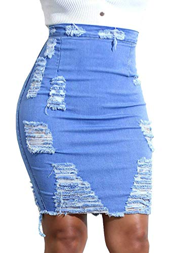 - chouyatou Women's Stretchy High Waist Butt-Lifting Bodycon Ripped Denim Pencil Skirt (Medium, Blue)