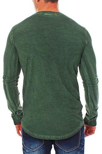 SHINE Herren T-Shirt Longsleeve Shirt Langarmshirt 2-45190 Bottle green Größe L