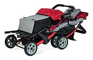 Childcraft The Trio Sport Triple Tandem Stroller, Red