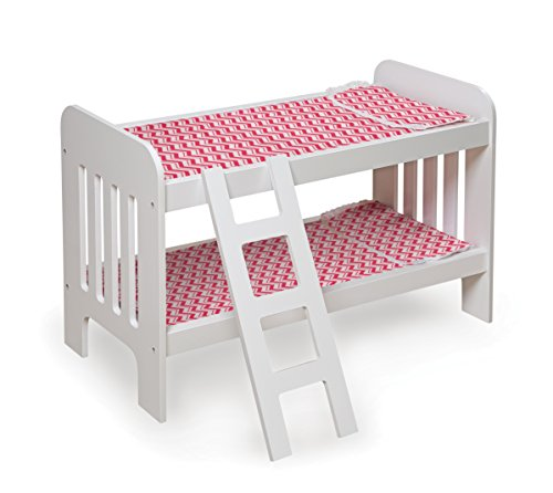 Badger Basket Doll Bunk Bed with Ladder (fits American Girl dolls), Chevron/White/Pink