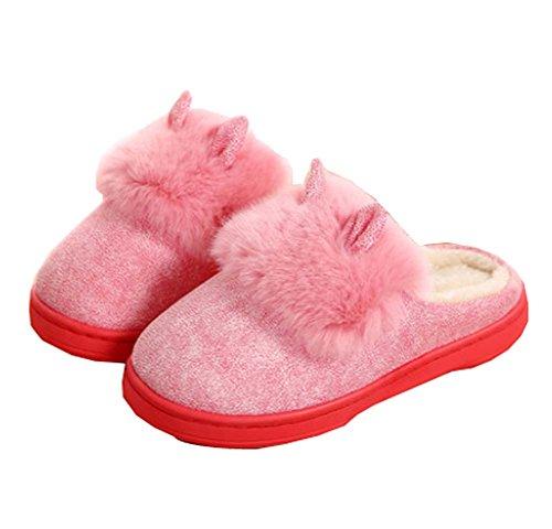 Black Temptation Women's Winter Soft Cozy Non-slip Plush,Recyclable Disposable Slippers-Pink