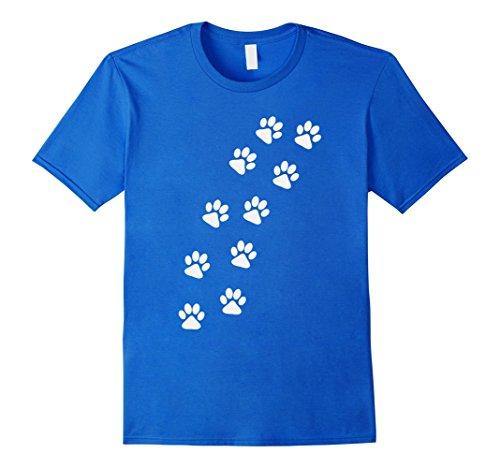 Mens Track of Dog Paw Prints T-Shirt XL Royal Blue Dog Blue Paw Prints